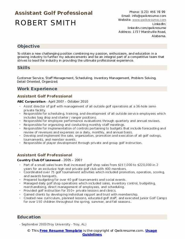 Assistant Golf Professional Resume Samples Qwikresume