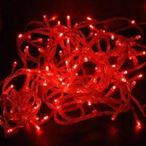 Z371R - LAMPKI CHOINKOWE SZNUR 100LED 10M KABLA IP44 220V 9,6W PVC 2,0mm ZEWNETRZNE Z KONTROLEREM - RED-CZERWONY