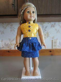 FREE TUTORIAL American Girl Doll Peplum Skirt Tutorial and Bodysuit Tutorial
