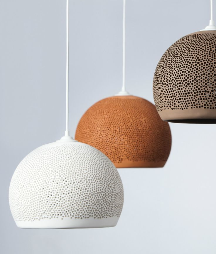 The designer of these POTT Terracotta Light Shades SPONGE UP White, Miguel Angel García Belmonte, was inspired by the textures of natural sea sponges.
