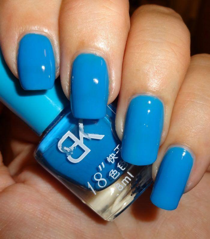 9. Neon Blue Gel Polish Nail Designs for Women