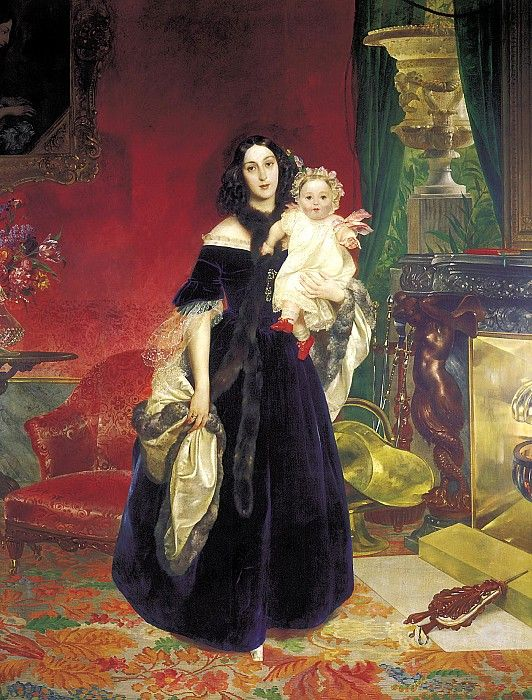 BRYULLOV Karl - Portrait of Maria Arkadyevna Beck and his daughter. 1840. 900 Classic russian paintings: