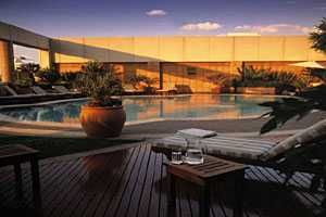 Pool deck- InterContinental Sandton Towers - This hotel has an international reputation for excellence and its beautiful sunsets viewed from its amazing terrace pool deck, restaurant and bar.