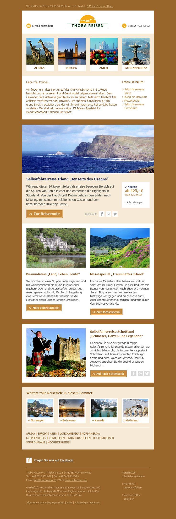 Mit Thoba Reisen gehts' um die Welt. Unser #Newsletterdesign bringt die Ziele zu Ihnen nach Hause. #E-Mail-Marketing #Newsletter #EMM
