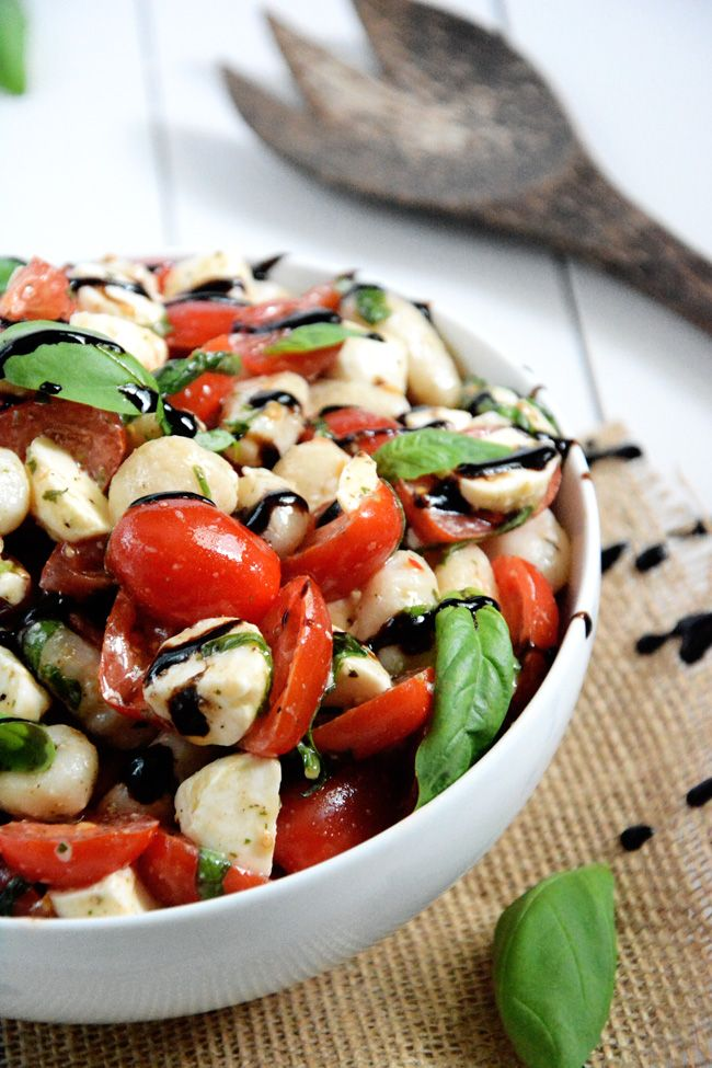 Gnocchi Caprese Salad: made over and tossed with delicious gnocchi for an easy and wholesome, make ahead salad.