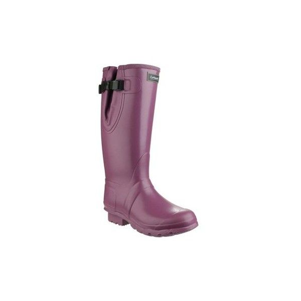 Cotswold Kew Neoprene Womens Wellingtons Wellington Boots ($87) ❤ liked on Polyvore featuring shoes, boots, purple, wellington boots, women, neoprene shoes, purple rubber boots, wellies shoes, neoprene boots and rubber boots