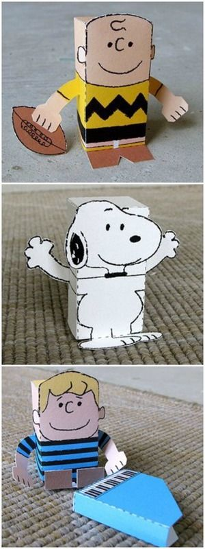 Free printable papercraft Peanuts dolls: Snoopy, Charlie Brown, and Schroeder with his Piano