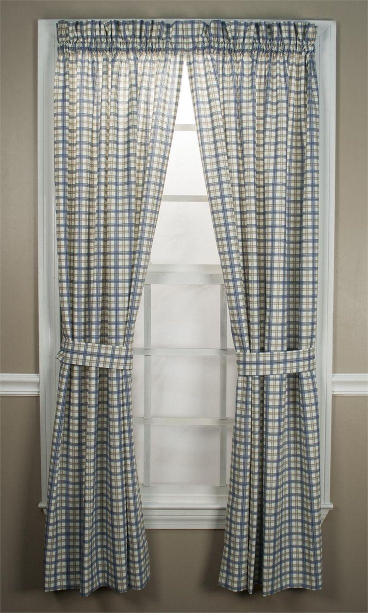 Brown plaid curtain panels - Custom Bristol Plaid Rod Pocket Curtain Panel Lined
