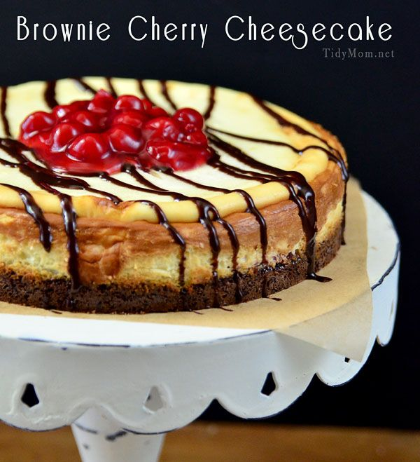 BROWNIE CHERRY CHEESECAKE- WOW!   1 8-ounce package of brownie mix or 1-2/3 cup brownie mix   4 eggs, divided   1 Tablespoon canola oil   1/2 cup mini semisweet chocolate chips   3 8-ounce packages cream cheese, softened   3/4 cup sugar   1 21-ounce can Cherry Pie Filling   COOL WHIP whipped topping, thawed   chocolate syrup