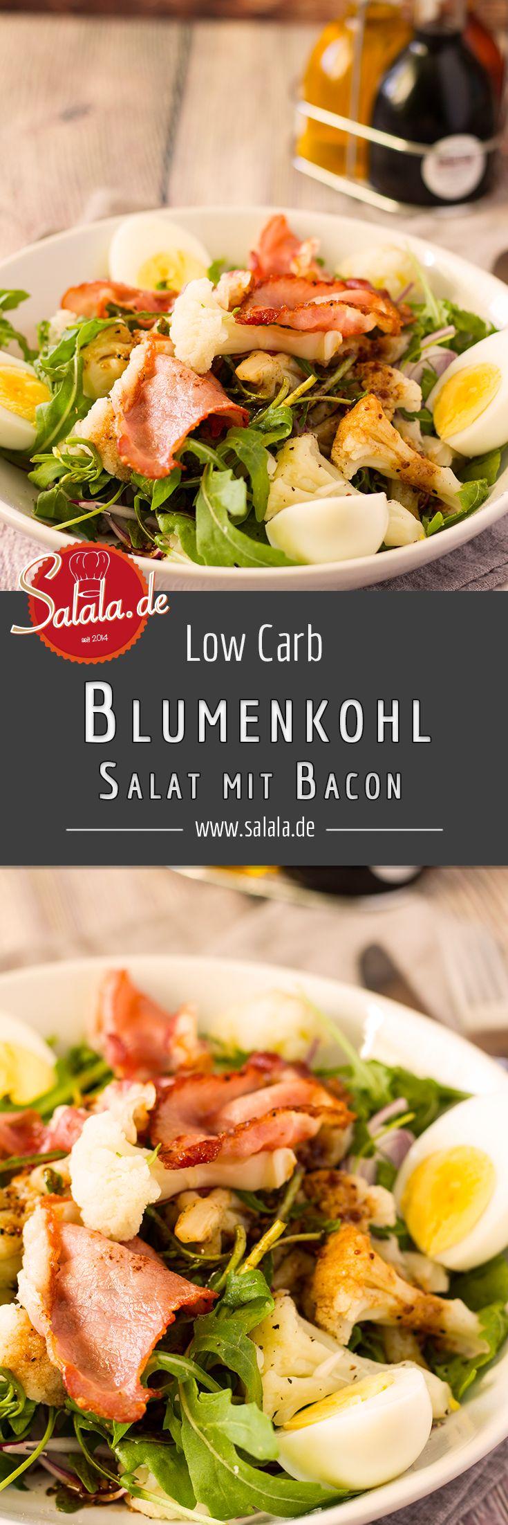 Herbstlicher Low Carb Blumenkohlsalat mit Bacon