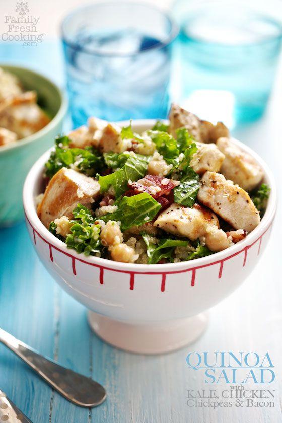 Quinoa Salad with Kale, Chicken, Chickpeas & Bacon | FamilyFreshCooking.com | Recipes | Pinterest | Salad, Quinoa Salad and Quinoa