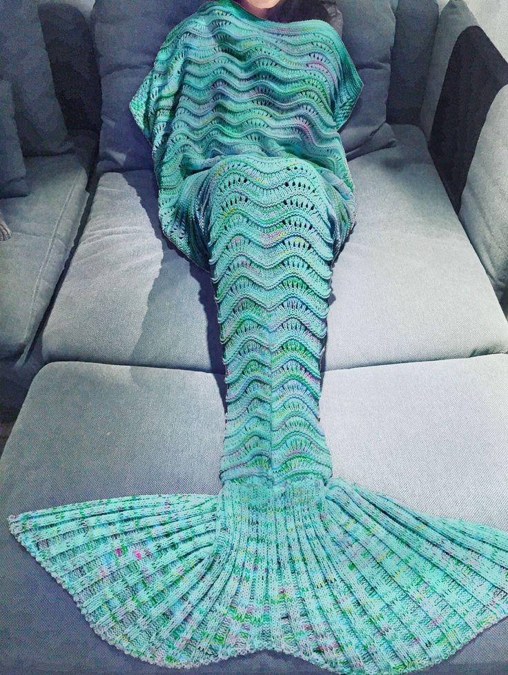 Super Soft Warm Hand-Crocheted Mermaid Tail Blanket Sofa Blanket Adult Blankets