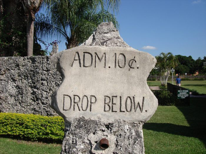 It was actually built around 1923, and the 10-cent admission sign reflects this. The mystery lies in how Coral Castle was built. You see, all of its materials were sourced, moved, and carved by one man (who was quite small in stature). This man was a Latvian immigrant named Ed Leedskalnin.