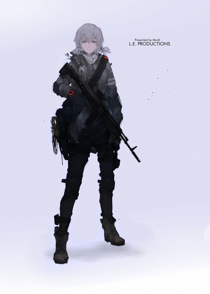 1girl assault_rifle blue_eyes boots character_sheet combat_boots full_body grey_hair gun highres laser_sight mivit original rifle scope short_hair simple_background sling solo tom_clancy's_the_division weapon