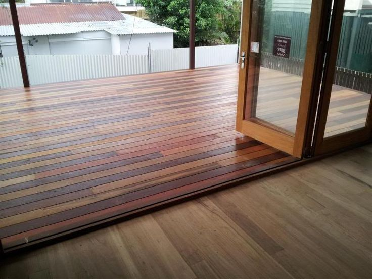 Blackbutt timber floors and mixed hardwood decking laid (all 130mm wide)...