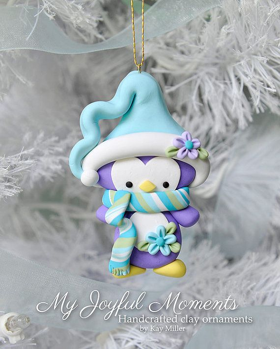 Handcrafted Polymer Clay Penguin Ornament by MyJoyfulMoments