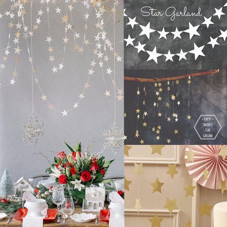 Pas cher 1 pcs en forme D'étoile Papier Guirlandes 4 M Coloré Bruant Accueil Noce Bannière Suspendus Papier Guirlande Salle…
