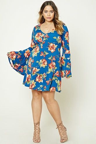 Forever 21+ - A crinkled woven wrap dress featuring an allover floral print, self-ties, a surplice neckline with a snap-button closure, a high-low tulip hem, and long sleeves with elasticized cuffs.