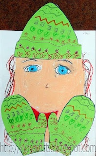 Winter mittens and cap art project...would be lovely to combine with math patterns activity, wouldn't it?