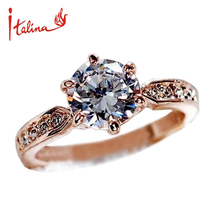Italina 7.5mm CZ Diamond Jewelry Wedding Rings for women 925 sterling silver Jewelry Engagement ring Crystal Anel Bijoux ** You can get more details by clicking on the image.