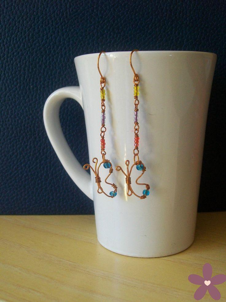 orecchini farfalla_rame e perline. Handmade jewellery #wire