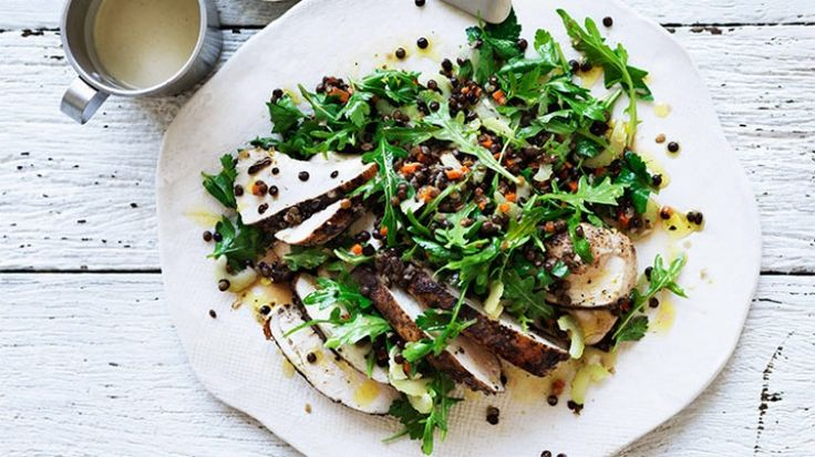 Spiced chicken and lentil salad