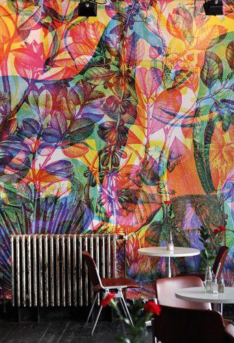 RGB wallpaper inside Dream Bags Jaguar Shoes in Shoreditch, London – designed by Carnovsky.