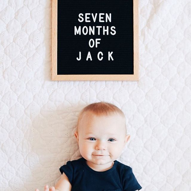 Our Little Letterfolk Mini Jack Is Seven Months Old He S Officially On The Move And Has Army Cr Baby Milestone Photos One Month Old Baby Baby Photoshoot Boy