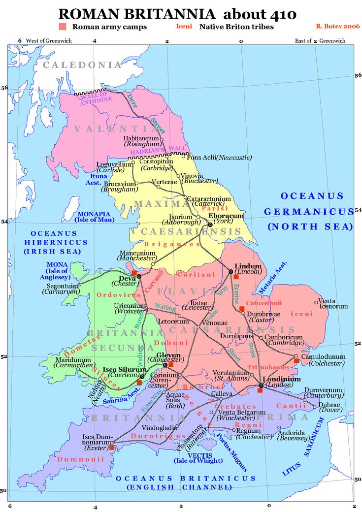 Celtic Tribes in Britain. Roman Britain about the year 410 CE, showing the Brythonic tribes in red.