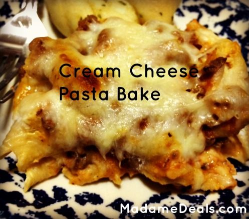 Cream Cheese Pasta Bake-this was easy and yummy.  Next time I'd add a little more sauce because it just got a little dried out.  Other than that it reminds me of a lazy lasagna.  This one is a keeper.