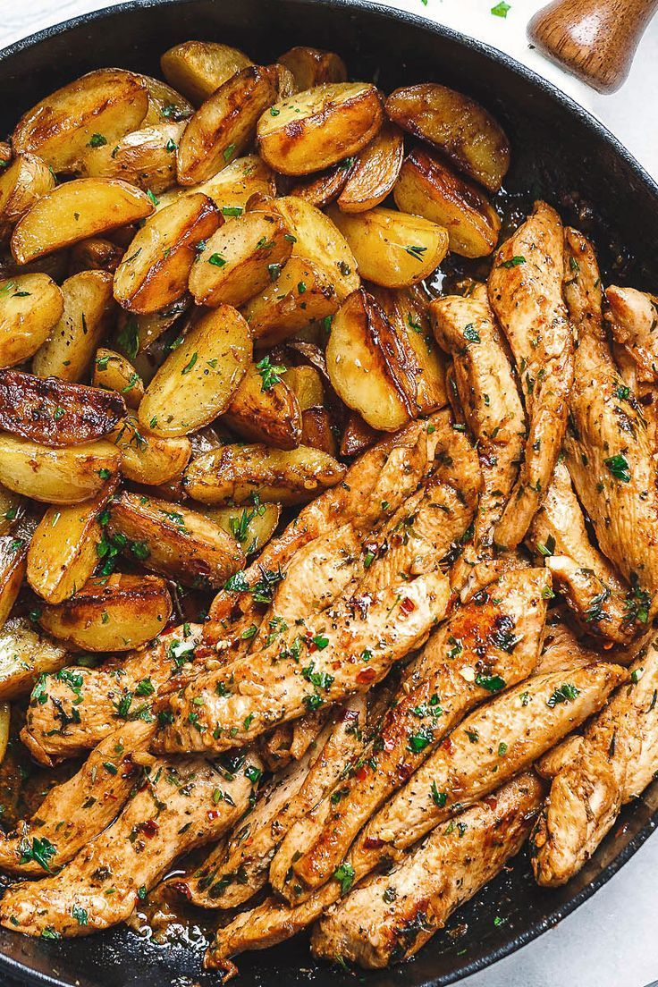 Apr 8, 2020 – Garlic Butter Chicken and Potatoes Skillet – One skillet. Amazing flavors. This chicken recipe is pretty m…