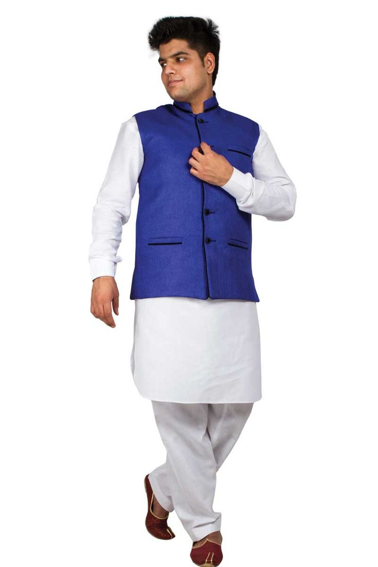 Andaaz new ethnic mens blue cotton and jute waistcoat with price 29 29 it is prefect
