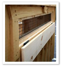 Drop vent to increase ventilation in coop or shut it during bad weather.