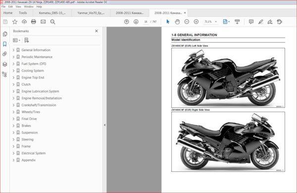 2008 2011 Kawasaki Zzr1400 Zzr1400 Abs Ninja Zx 14 Motorcycle Workshop Repair Service Manual Motorcycle Workshop Kawasaki Manual