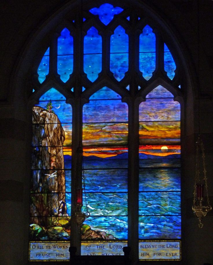 "Louis Comfort Tiffany signed stained glass, in the Church of the Holy Innocents, Highland Falls, New York. A gift in memoriam to J. P. Morgan, by his daughter Louisa Morgan Satterlee, c.1922. J.P. Morgan had been a member of the church. The Tiffany window depicts Great Head on Mount Desert Island, Acadia Nat'l Park. ""O all ye works of the Lord, bless ye the Lord: praise him and magnify him forever."" (Book of Common Prayer, c.1662). ~~ {cwl} ~ (Image: Acadia Memorials)"