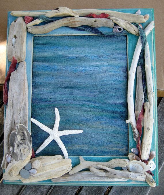 SALE Driftwood Frame with Needle Felted ocean by CatchingWaves