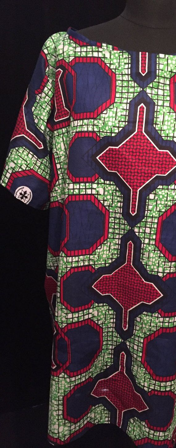 Blue, Red and Green African Print Dress - Large/Extra Large
