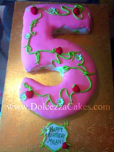 5-Shaped Number Cake Strawberry Shortcake-inspired www.DolcezzaCakes.com