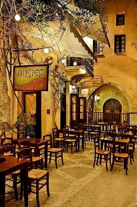 Traditional Greek tavern, old town of Rethymnon, Crete, Greece