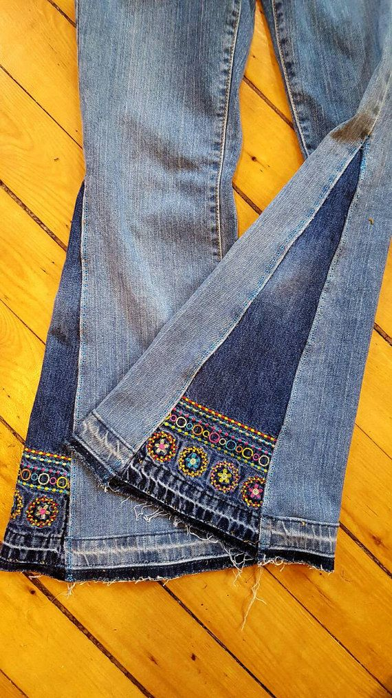This listing is for a CUSTOM MADE ORDER .... Let Me create you an Outstanding pair of Bell Bottom Jeans that will turn heads! I will need a little information such as: Waist and inseam or size jean you normally purchase. All info you provide me with gives me a better vision to create the best pair of jeans I can for you. For example, you may prefer mid rise, low rise or high rise jean. Some folks tell me they are wearing them as a performer in a band and they want to emulate Led Zep. Some...