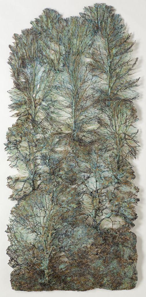 "Lesley Richmond - Forest Scape 2' - Cotton/silk fabric - 69"" x 32"""