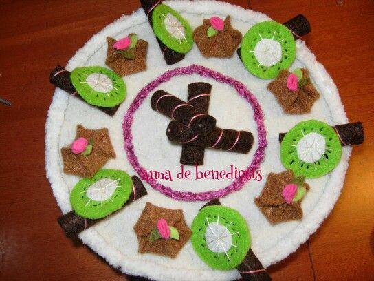 Felt kiwi cake