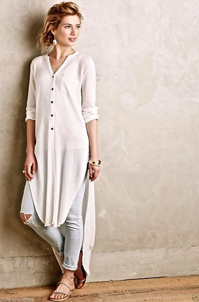 Anthropologie Holding Horses white Buttondown Gauze Maxi Tunic Size M in Clothing, Shoes & Accessories, Women's Clothing, Tops & Blouses | eBay