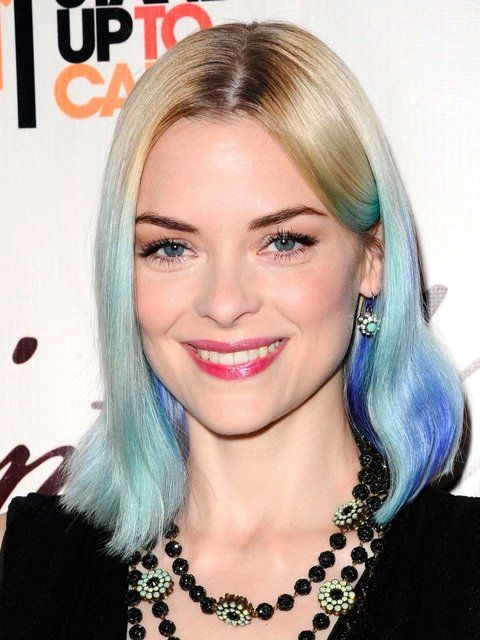 Jaime King working an ombre 'do in blue and aqua.