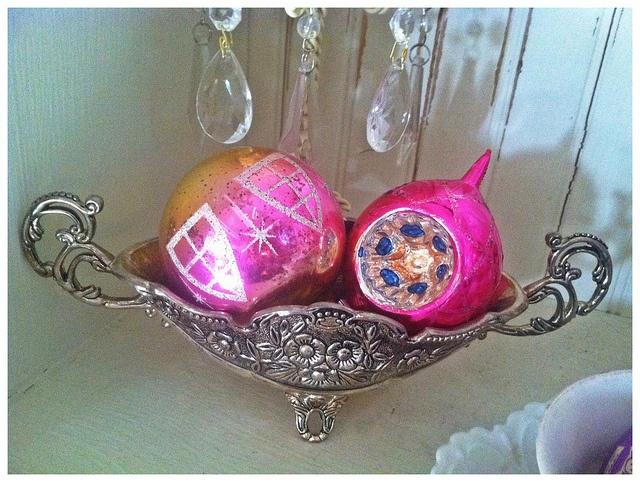 Vintage pink Christmas ornaments by eg2006, via Flickr