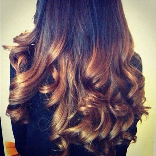 pretty curled black and brown ombre hair | Hair ...