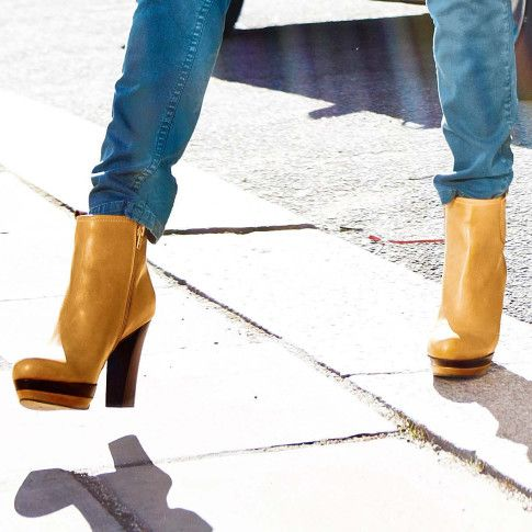 Stiefelette | Stiefeletten | Schuhe | Damen | Impressionen DE >> Senf - meine neue Farbe für den kommenden Herbst!! #senf #stiefeletten #streetstyle