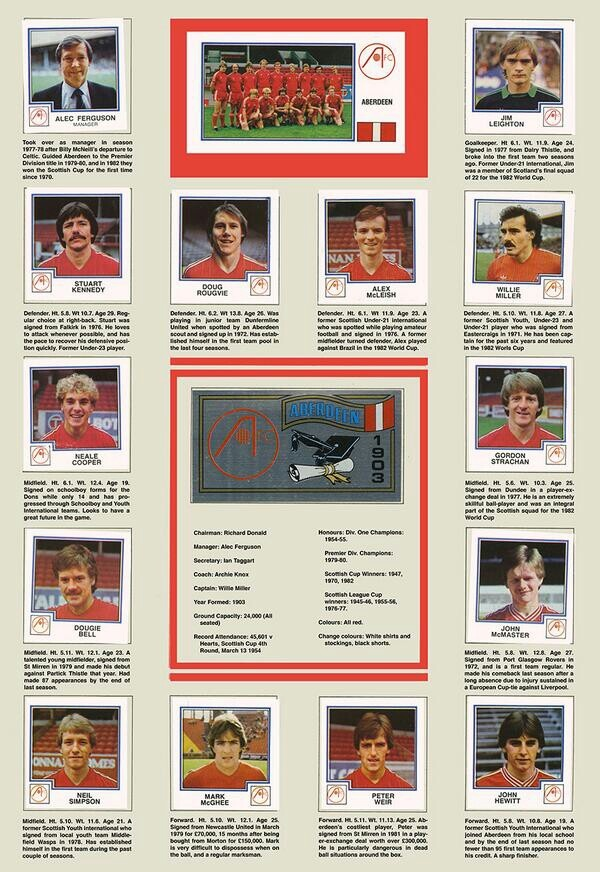When we were kings! Aberdeen fc 1983 Gothenburg paninni