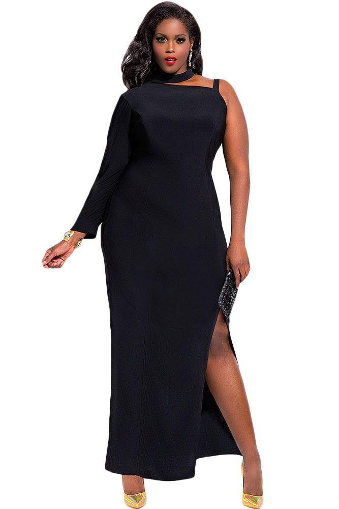 BignBold Black One Sleeve High Slit Plus Size Maxi Dress