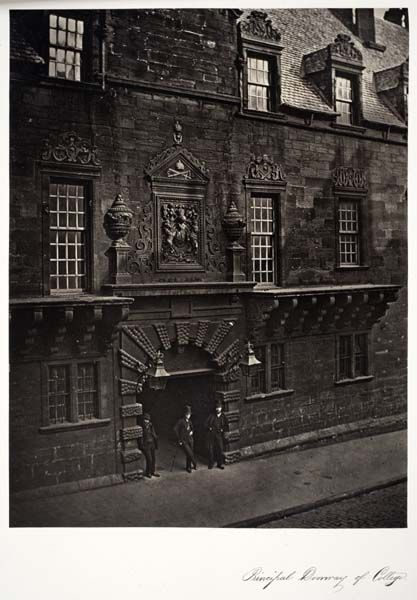 """Principal Doorway of College, from """"Memorials of the Old College of Glasgow"""" 1871, Thomas Annan."""